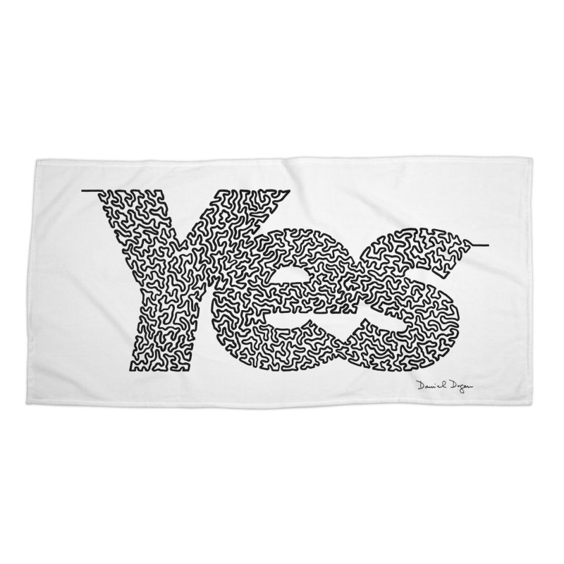 Yes - One Continuous Line Accessories Beach Towel by Daniel Dugan's Artist Shop