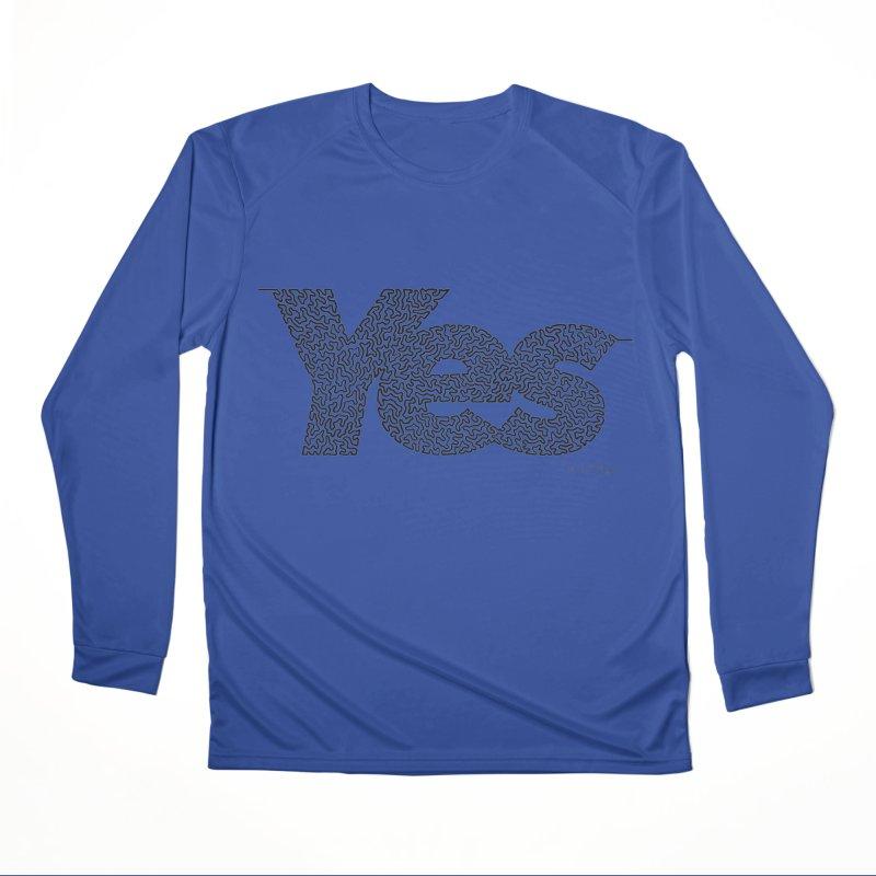 Yes - One Continuous Line Men's Performance Longsleeve T-Shirt by Daniel Dugan's Artist Shop