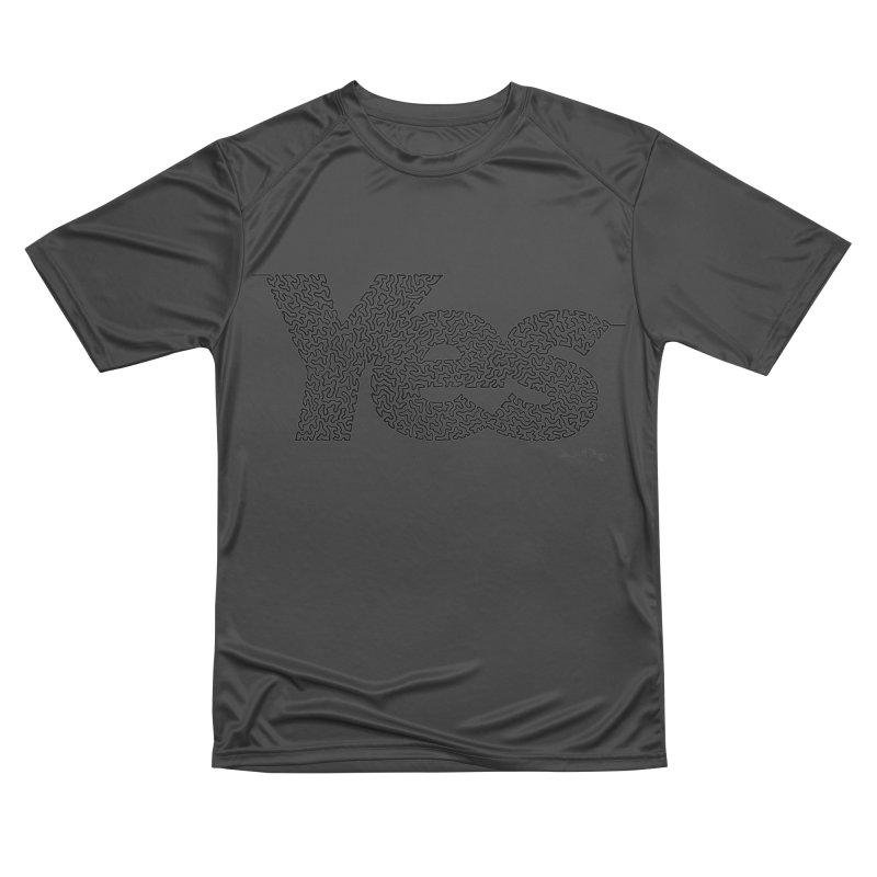 Yes - One Continuous Line Men's Performance T-Shirt by Daniel Dugan's Artist Shop