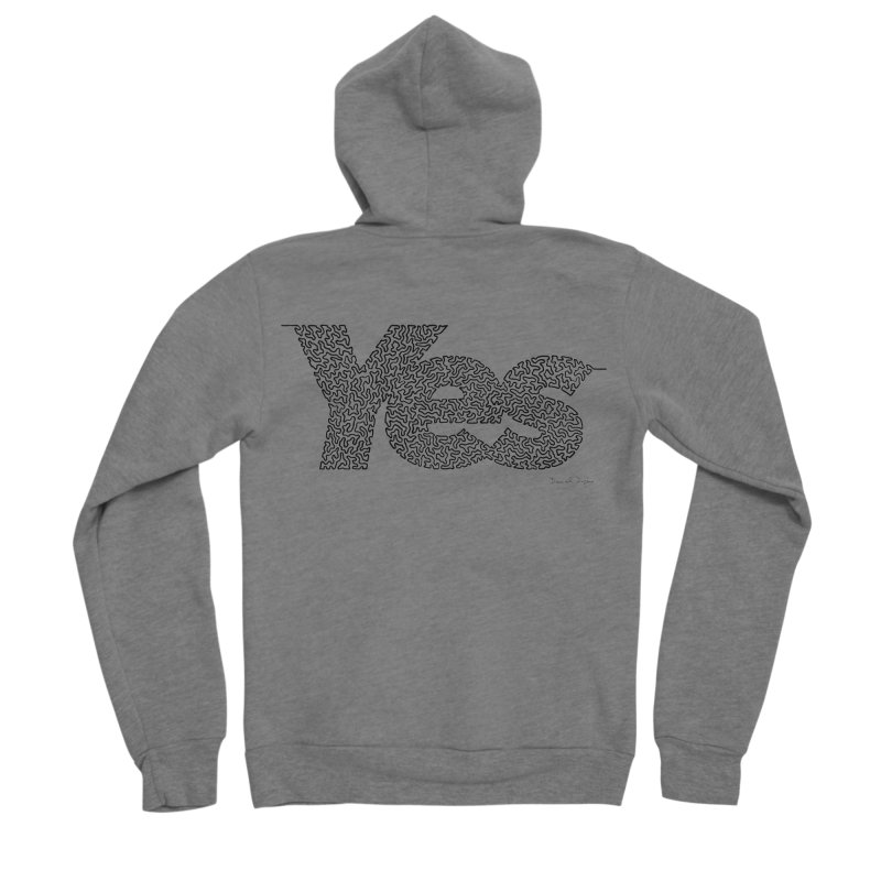 Yes - One Continuous Line Men's Sponge Fleece Zip-Up Hoody by Daniel Dugan's Artist Shop