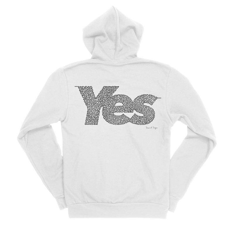 Yes - One Continuous Line Men's Sponge Fleece Zip-Up Hoody by Daniel Dugan's Artist Shop