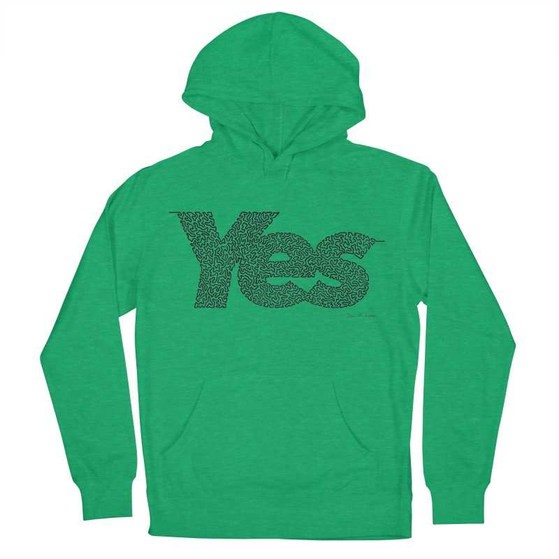 Yes - One Continuous Line Men's French Terry Pullover Hoody by Daniel Dugan's Artist Shop