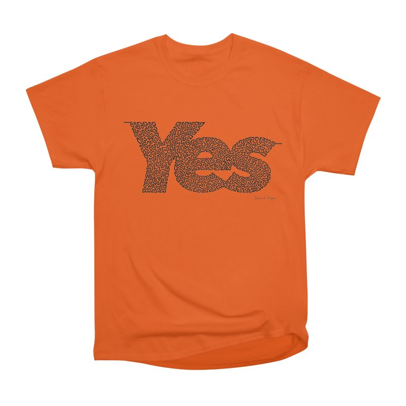Yes - One Continuous Line Men's Heavyweight T-Shirt by Daniel Dugan's Artist Shop