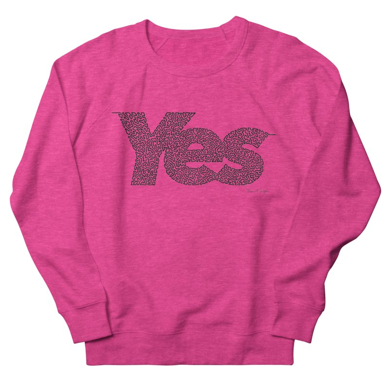 Yes - One Continuous Line Women's French Terry Sweatshirt by Daniel Dugan's Artist Shop