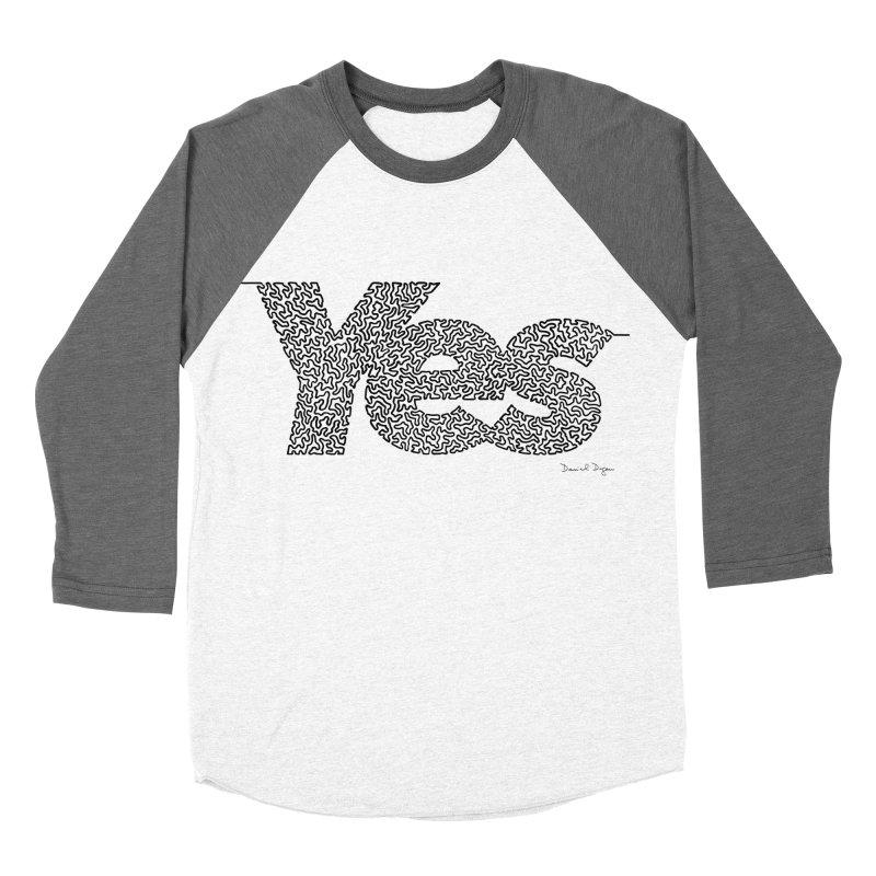 Yes - One Continuous Line Women's Baseball Triblend Longsleeve T-Shirt by Daniel Dugan's Artist Shop