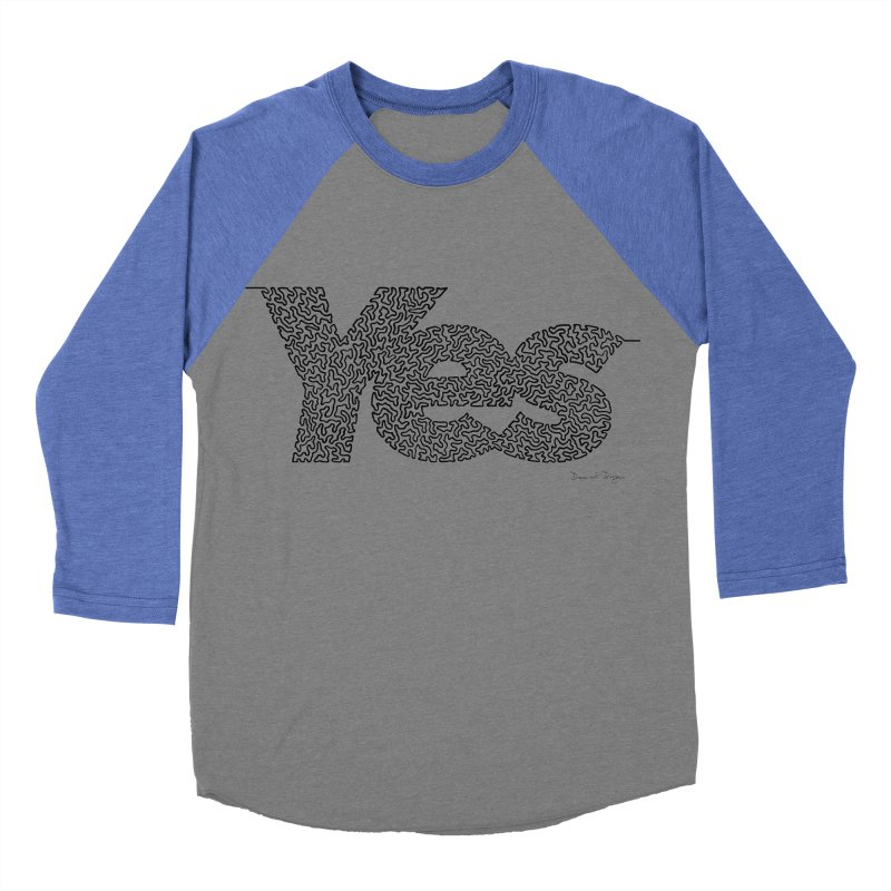 Yes - One Continuous Line Women's Baseball Triblend Longsleeve T-Shirt by Daniel Dugan's Artist Shop