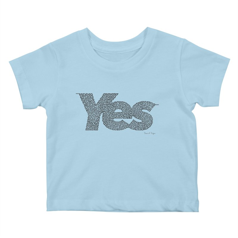 Yes - One Continuous Line Kids Baby T-Shirt by Daniel Dugan's Artist Shop