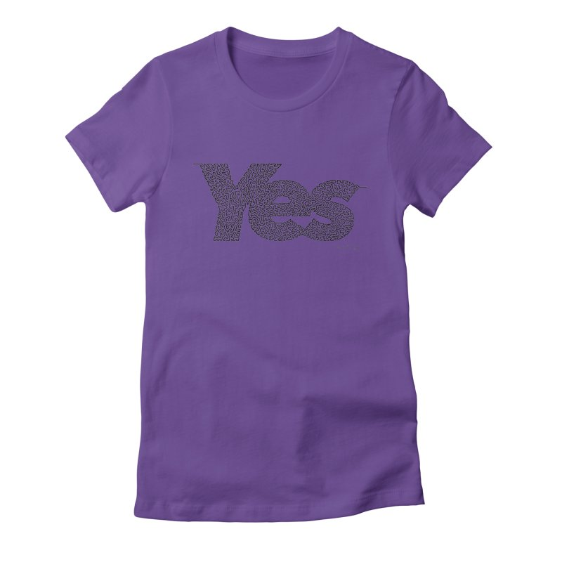 Yes - One Continuous Line Women's Fitted T-Shirt by Daniel Dugan's Artist Shop