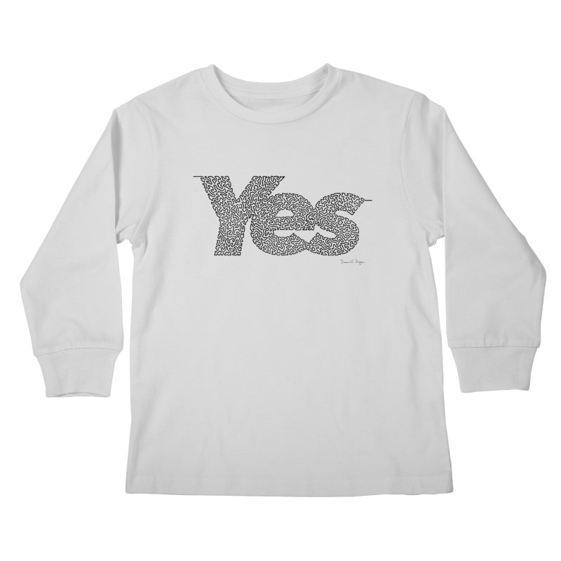 Yes - One Continuous Line Kids Longsleeve T-Shirt by Daniel Dugan's Artist Shop