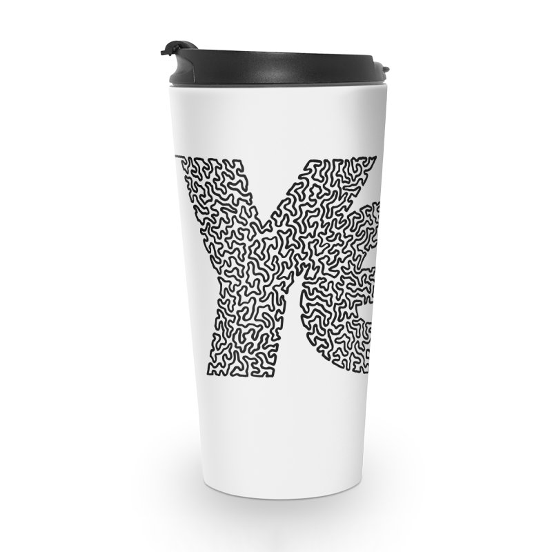 Yes - One Continuous Line Accessories Travel Mug by Daniel Dugan's Artist Shop