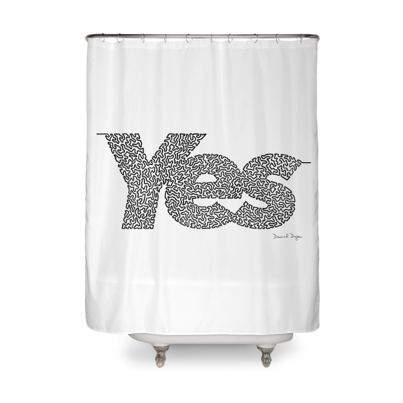 Yes - One Continuous Line Home Shower Curtain by Daniel Dugan's Artist Shop
