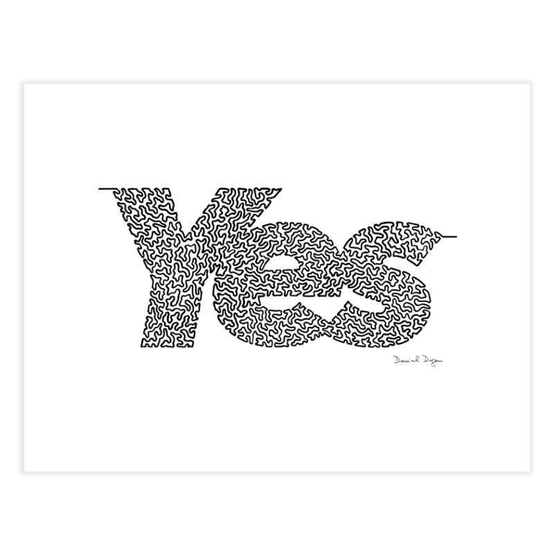 Yes - One Continuous Line Home Fine Art Print by Daniel Dugan's Artist Shop