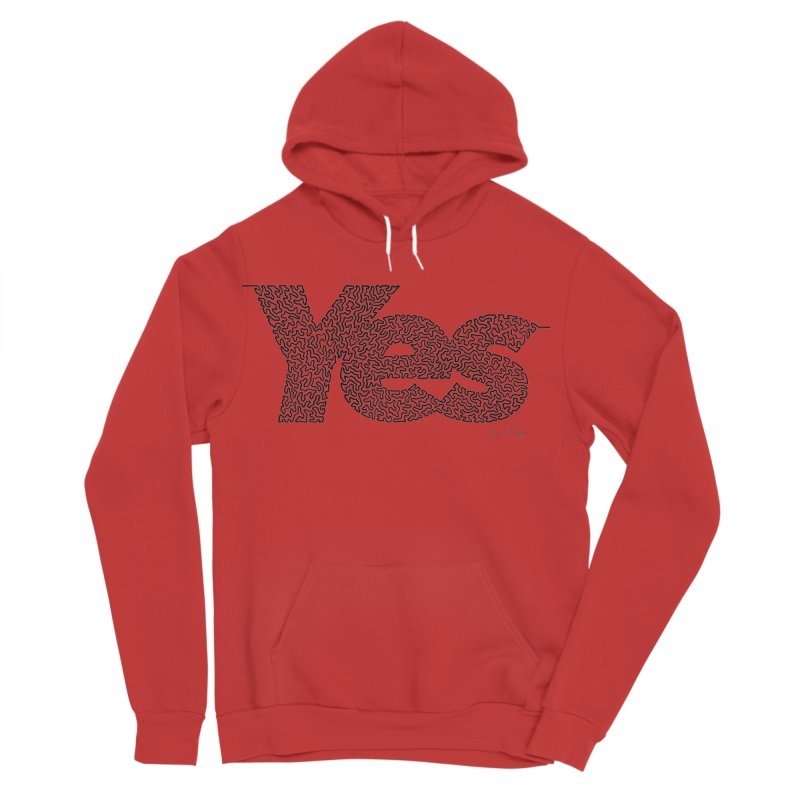 Yes - One Continuous Line Men's Sponge Fleece Pullover Hoody by Daniel Dugan's Artist Shop