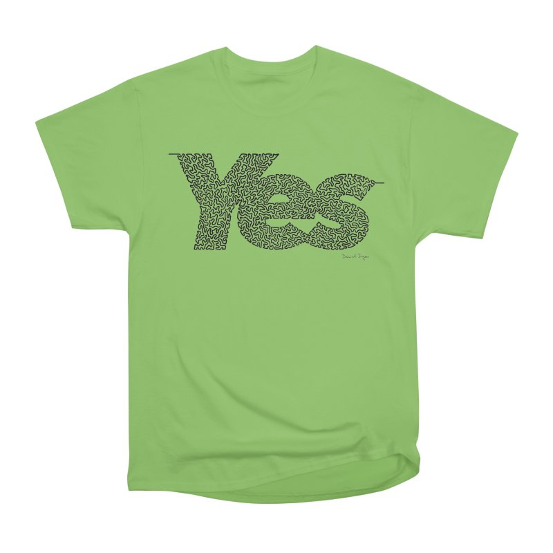 Yes - One Continuous Line Men's Heavyweight T-Shirt by Daniel Dugan's Artist Shop