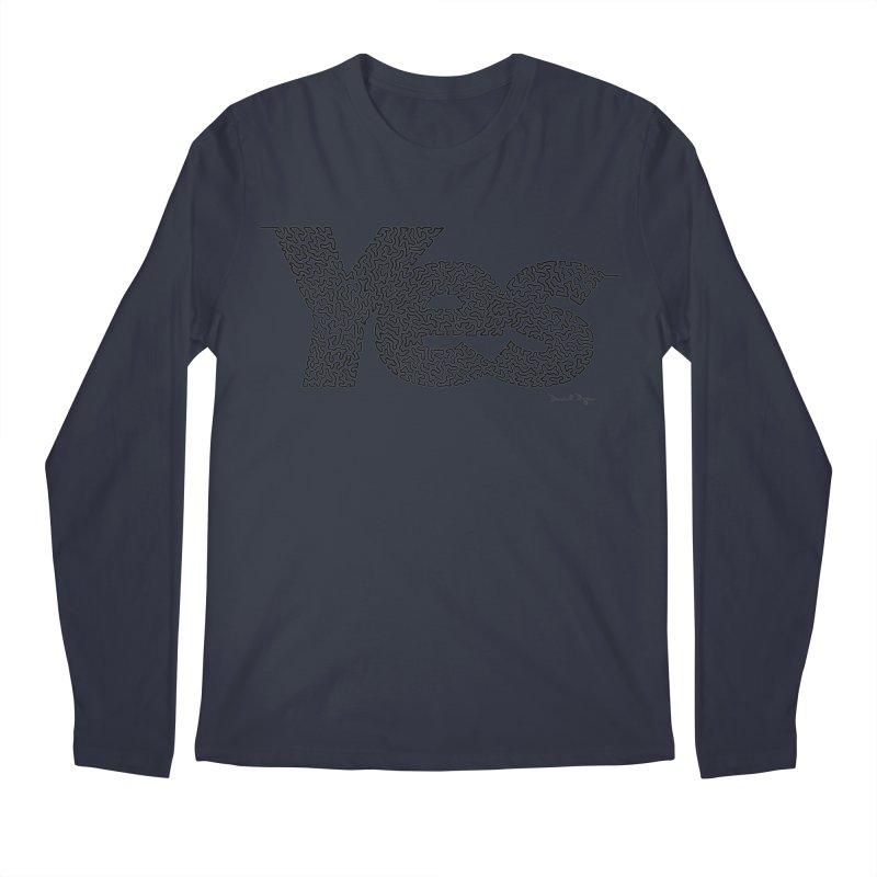 Yes - One Continuous Line Men's Regular Longsleeve T-Shirt by Daniel Dugan's Artist Shop