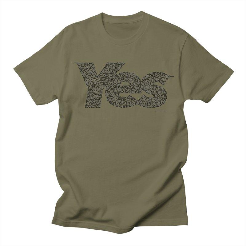 Yes - One Continuous Line Women's Regular Unisex T-Shirt by Daniel Dugan's Artist Shop