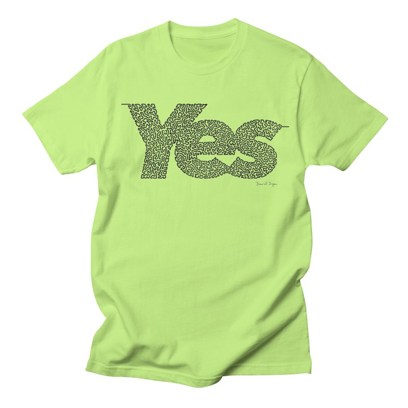 Yes - One Continuous Line Men's Regular T-Shirt by Daniel Dugan's Artist Shop