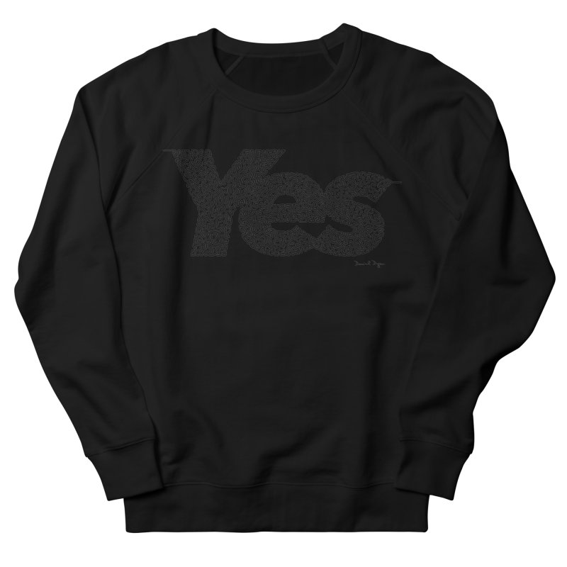 Yes - One Continuous Line Men's French Terry Sweatshirt by Daniel Dugan's Artist Shop