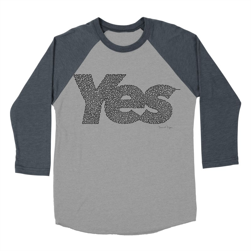 Yes - One Continuous Line Men's Baseball Triblend Longsleeve T-Shirt by Daniel Dugan's Artist Shop