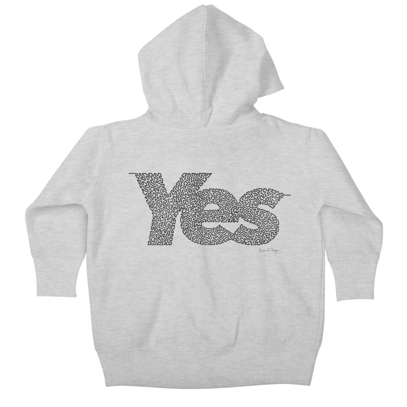Yes - One Continuous Line Kids Baby Zip-Up Hoody by Daniel Dugan's Artist Shop