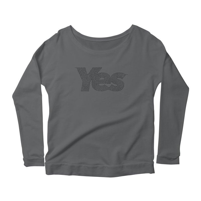Yes - One Continuous Line Women's Scoop Neck Longsleeve T-Shirt by Daniel Dugan's Artist Shop