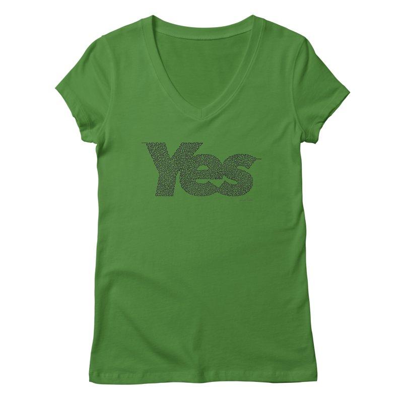 Yes - One Continuous Line Women's Regular V-Neck by Daniel Dugan's Artist Shop