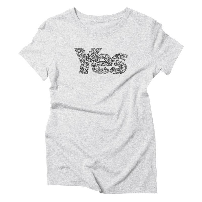 Yes - One Continuous Line Women's Triblend T-Shirt by Daniel Dugan's Artist Shop
