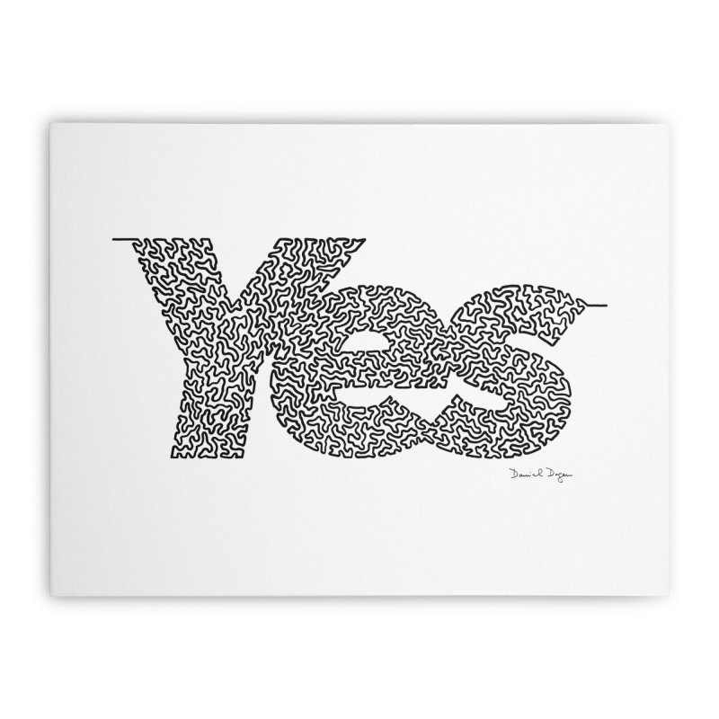 Yes - One Continuous Line Home Stretched Canvas by Daniel Dugan's Artist Shop
