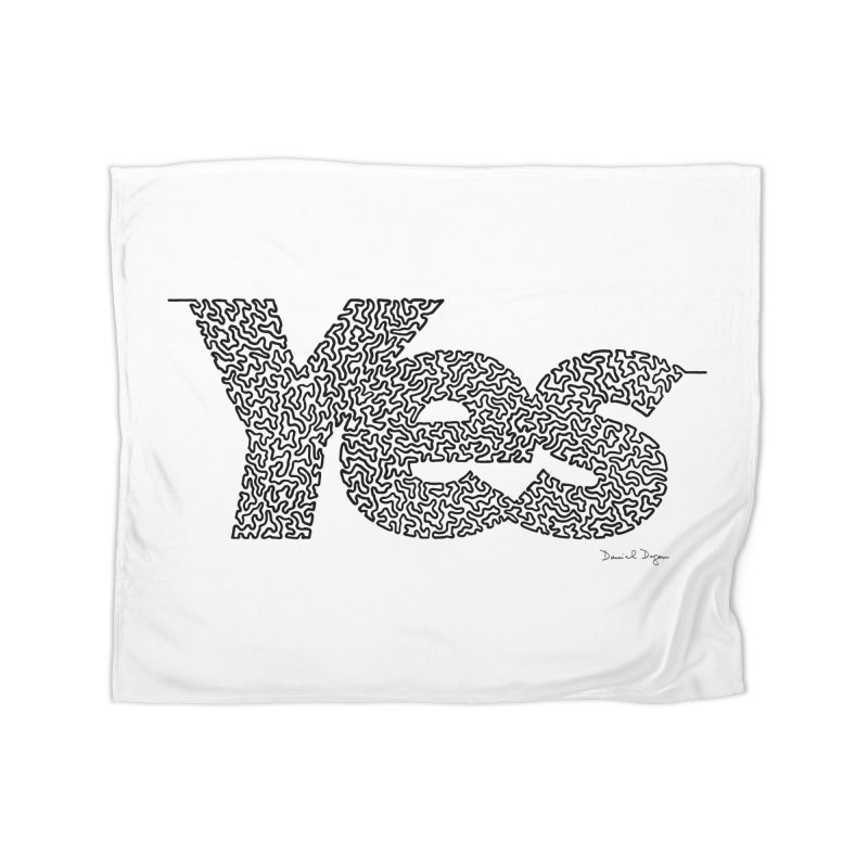 Yes - One Continuous Line Home Fleece Blanket Blanket by Daniel Dugan's Artist Shop