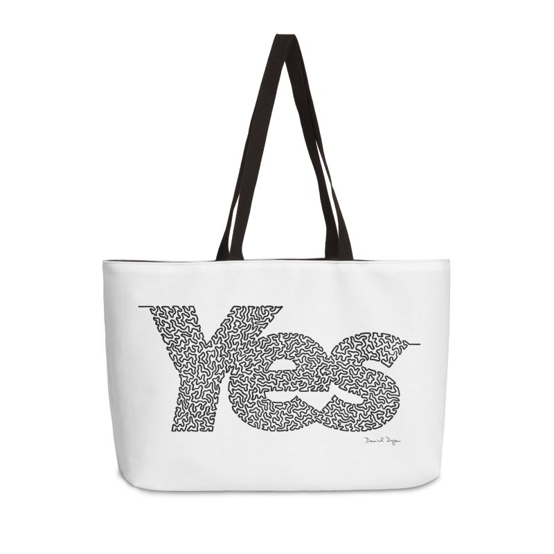 Yes - One Continuous Line Accessories Weekender Bag Bag by Daniel Dugan's Artist Shop