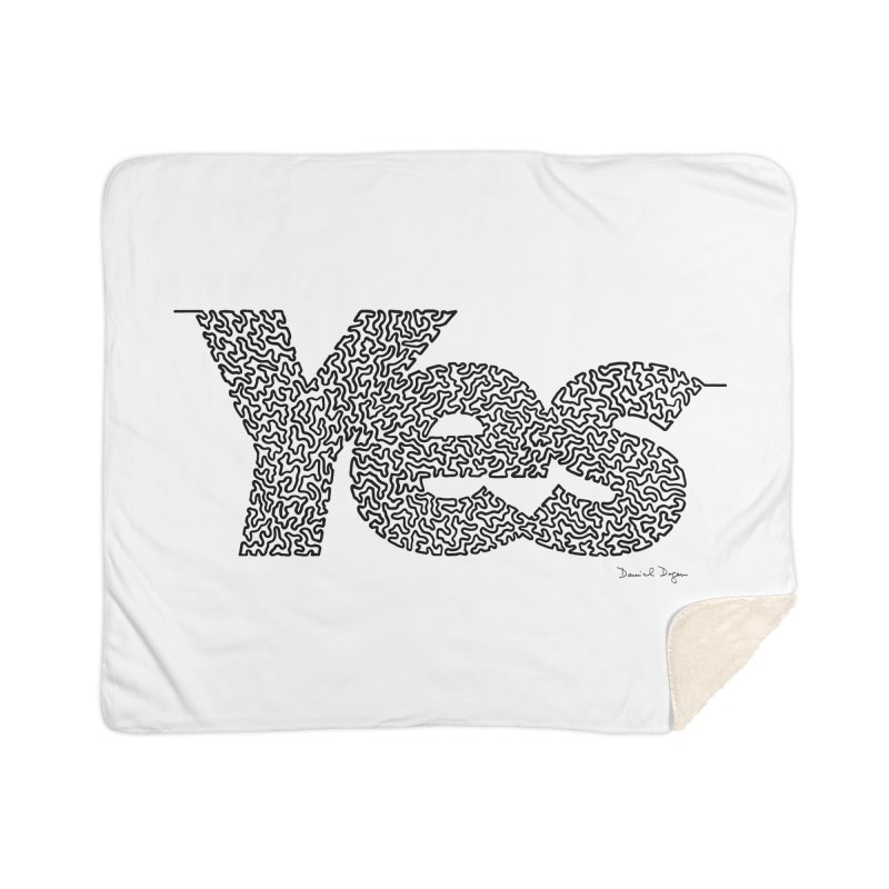 Yes - One Continuous Line Home Sherpa Blanket Blanket by Daniel Dugan's Artist Shop