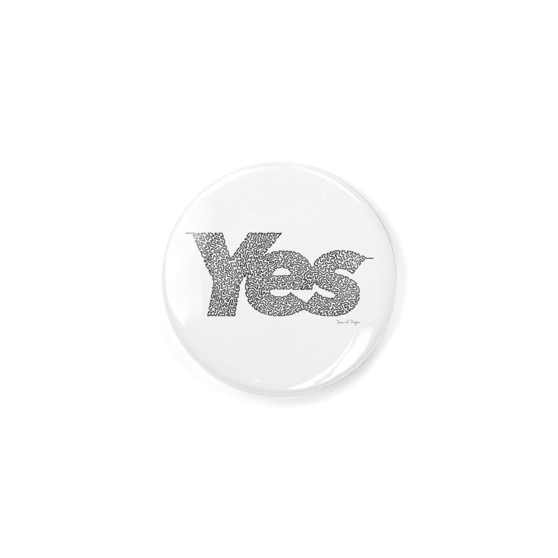 Yes - One Continuous Line Accessories Button by Daniel Dugan's Artist Shop