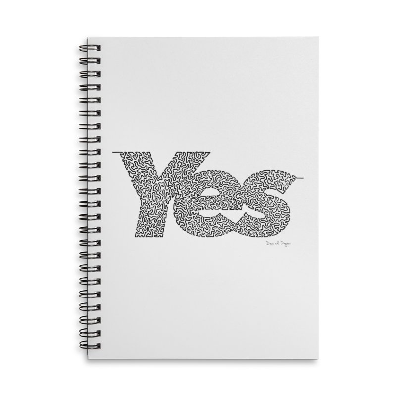 Yes - One Continuous Line Accessories Lined Spiral Notebook by Daniel Dugan's Artist Shop
