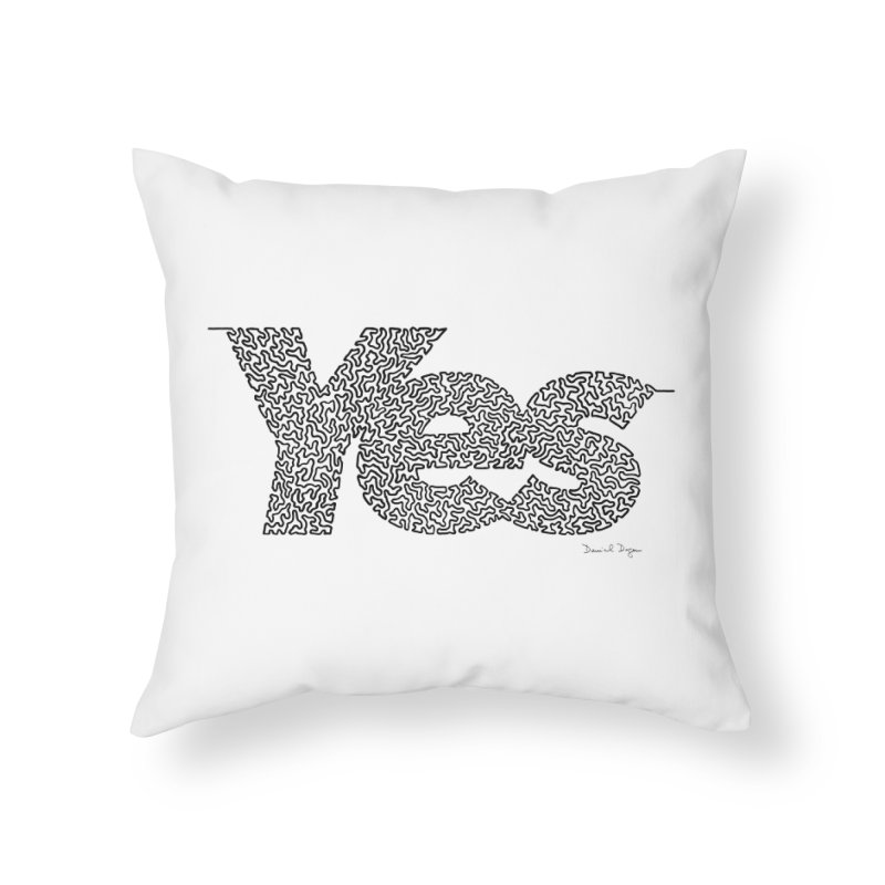 Yes - One Continuous Line Home Throw Pillow by Daniel Dugan's Artist Shop