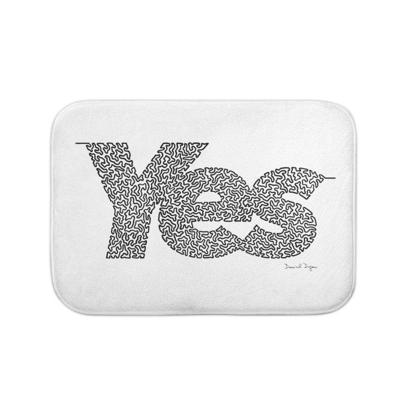 Yes - One Continuous Line Home Bath Mat by Daniel Dugan's Artist Shop