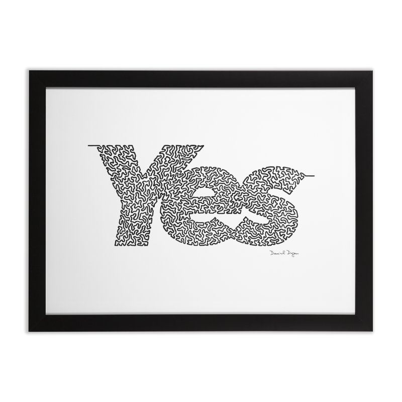 Yes - One Continuous Line Home Framed Fine Art Print by Daniel Dugan's Artist Shop