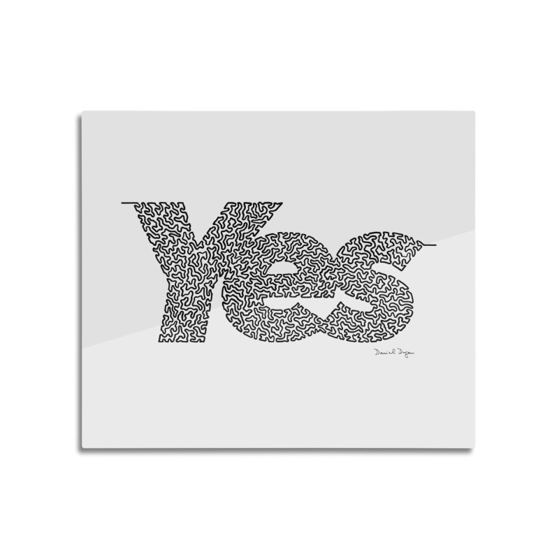 Yes - One Continuous Line Home Mounted Aluminum Print by Daniel Dugan's Artist Shop