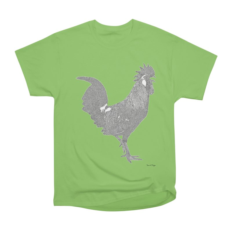 Cock - One Continuous Line Women's Heavyweight Unisex T-Shirt by Daniel Dugan's Artist Shop