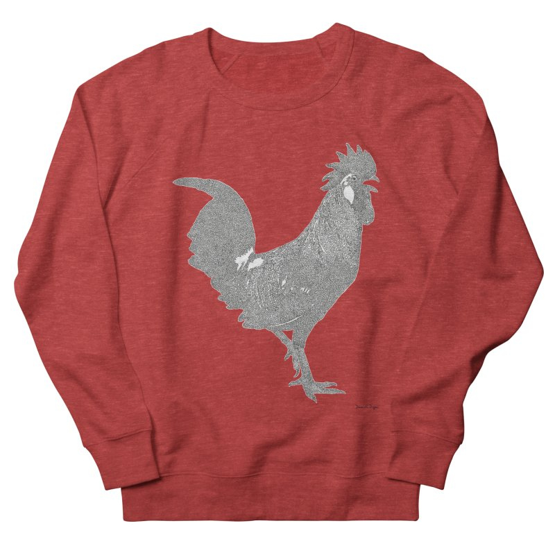 Cock - One Continuous Line Women's French Terry Sweatshirt by Daniel Dugan's Artist Shop