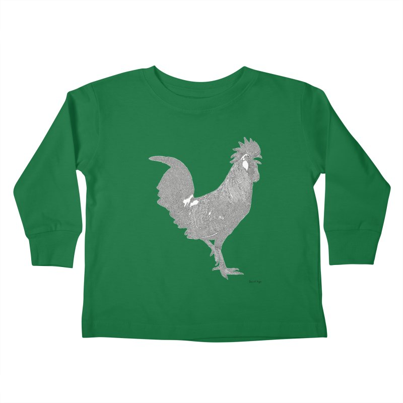 Cock - One Continuous Line Kids Toddler Longsleeve T-Shirt by Daniel Dugan's Artist Shop
