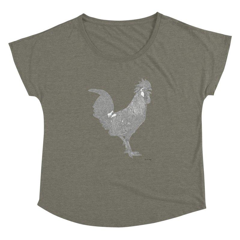 Cock - One Continuous Line Women's Dolman Scoop Neck by Daniel Dugan's Artist Shop