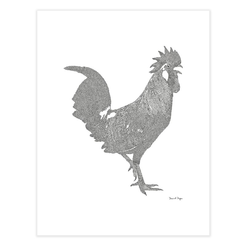 Cock - One Continuous Line Home Fine Art Print by Daniel Dugan's Artist Shop