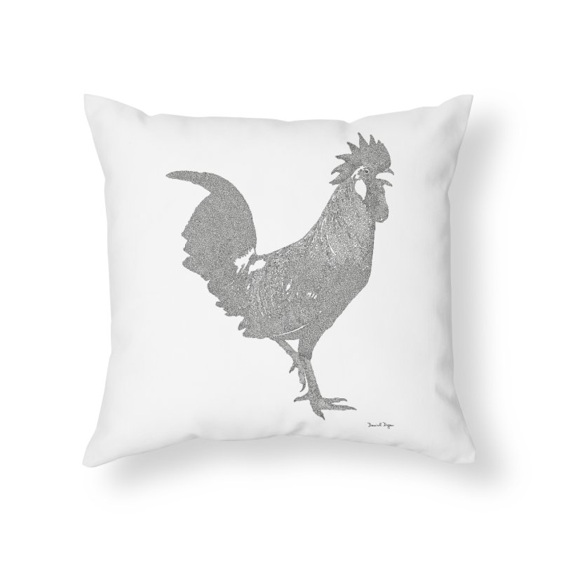 Cock - One Continuous Line Home Throw Pillow by Daniel Dugan's Artist Shop