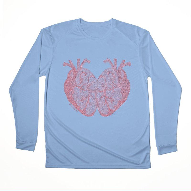 Heart to Heart - One Continuous Line Women's Performance Unisex Longsleeve T-Shirt by Daniel Dugan's Artist Shop
