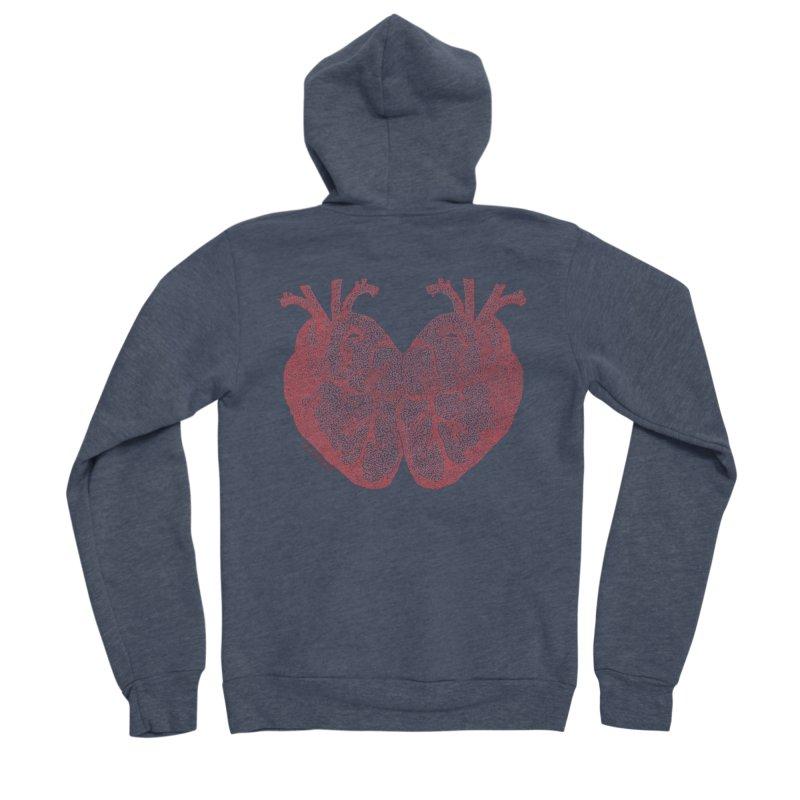 Heart to Heart - One Continuous Line Men's Sponge Fleece Zip-Up Hoody by Daniel Dugan's Artist Shop