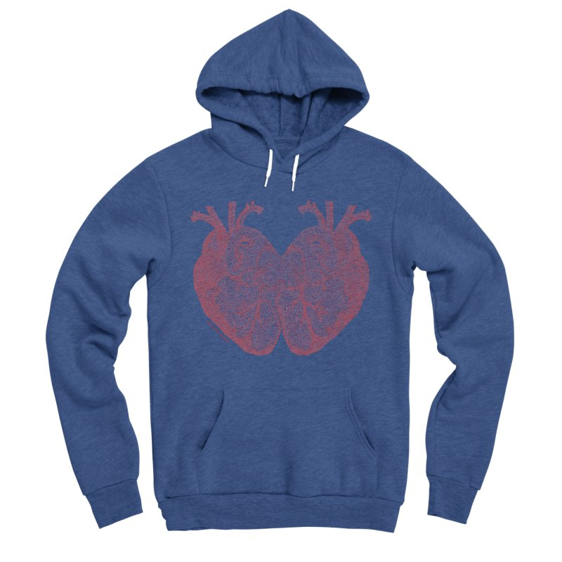 Heart to Heart - One Continuous Line Women's Sponge Fleece Pullover Hoody by Daniel Dugan's Artist Shop