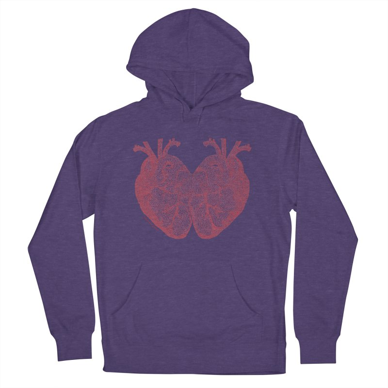 Heart to Heart - One Continuous Line Women's French Terry Pullover Hoody by Daniel Dugan's Artist Shop