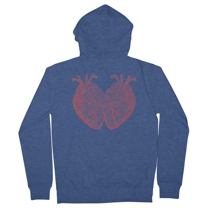 Heart to Heart - One Continuous Line Women's French Terry Zip-Up Hoody by Daniel Dugan's Artist Shop