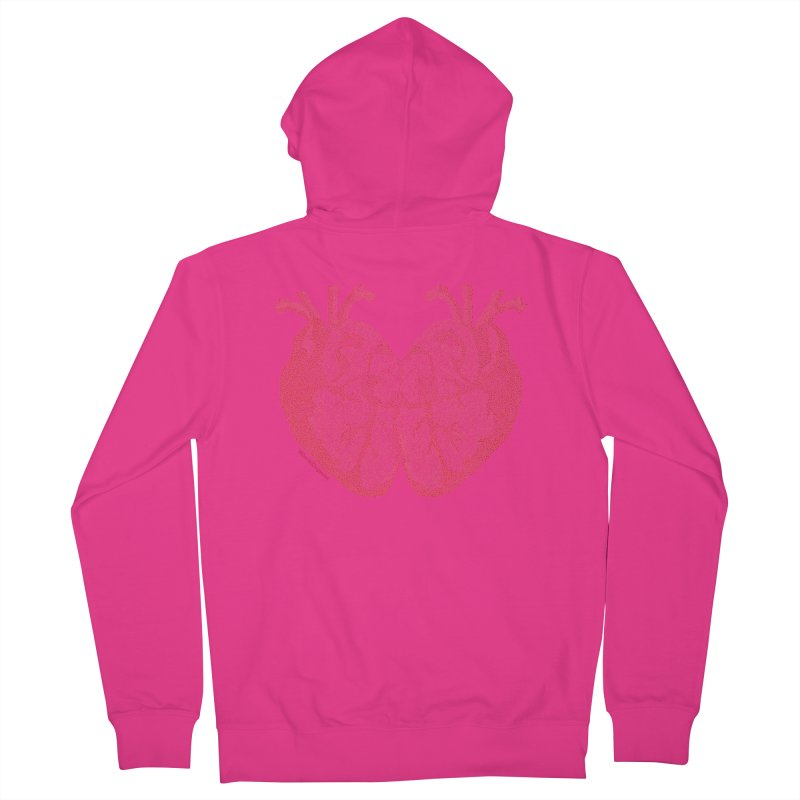 Heart to Heart - One Continuous Line Men's French Terry Zip-Up Hoody by Daniel Dugan's Artist Shop