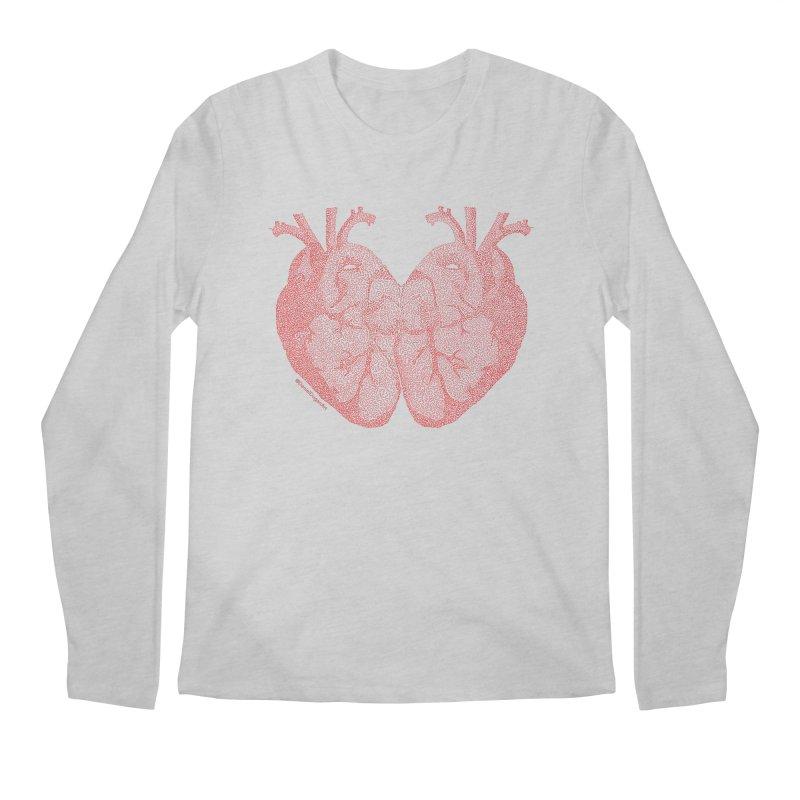 Heart to Heart - One Continuous Line Men's Regular Longsleeve T-Shirt by Daniel Dugan's Artist Shop